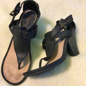 MIA Black Wedge Sandal Heel, 8.5